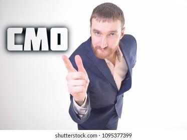 A businessman shows an inscription:CMO