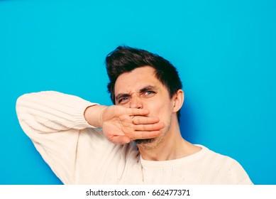 Businessman shows stop gesture