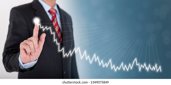 businessman shows success with chart