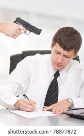 Businessman sign a contract under duress