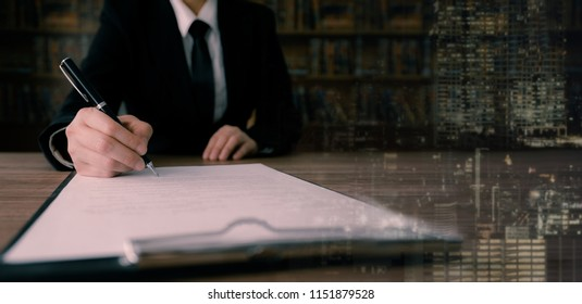 businessman signing contract or agreement business deal. wide view with copy space.