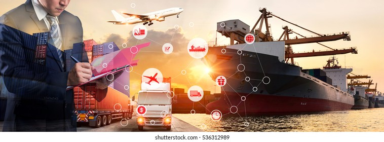 Businessman signing or writing a document in front Industrial Container Cargo freight ship for Business Insustrail Logistics Import Export, Online goods orders worldwide Internet of Things concept
