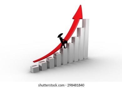 Businessman silhouette against red arrow and bar chart