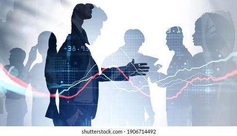 La silueta de hombre de negocios con traje formal sostiene su mano para un apretón de manos. Concepto de mercado de valores. Doble exposición al holograma del gráfico de forex