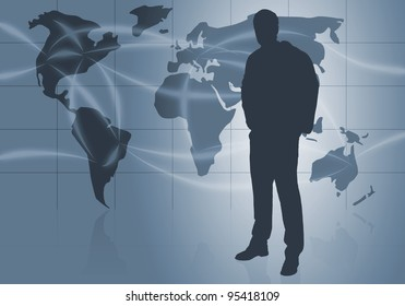 Businessman silhouette in front of world map with flight routes - global business or travel concept