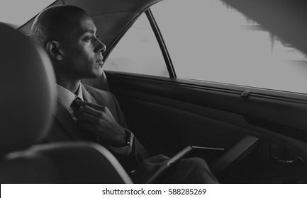 Businessman Sit Inside Car Worried