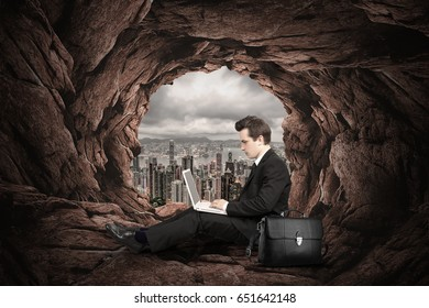 businessman sit in a tunnel far to the city2