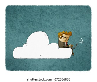 Businessman sits on a cloud with laptop on his knees. illustration of Cloud Networking.