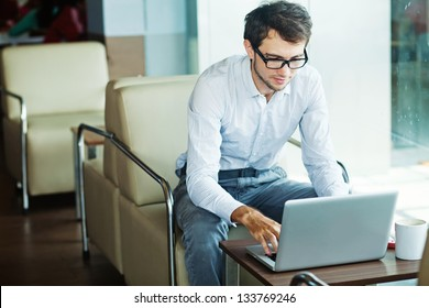 businessman sitting in cafe