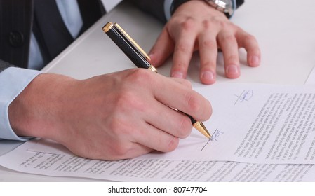 businessman sitting with documents sign up contract