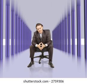 businessman is sitting in high tech hallway