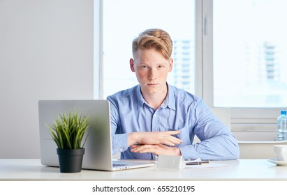 Businessman sitting at laptop in office