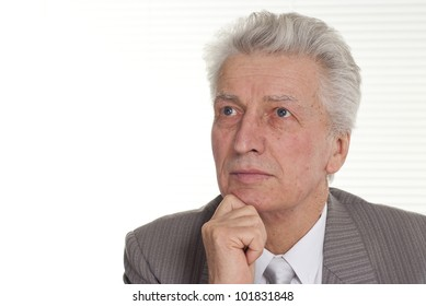 Businessman sitting on a background