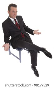businessman sitting on chair on white background