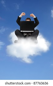 Businessman sitting on cloud with laptop computer concept for cloud computing or on cloud 9