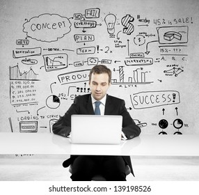 businessman sitting and thinking business concept