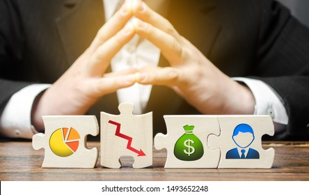Businessman sitting in thought over puzzle wrong business model, unprofitability and inefficiency. Failed project. Unprofitable, high costs. Testing, finding a solution. Risk management