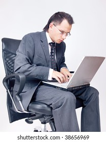 Businessman sitting and working.