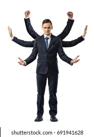 A businessman with six arms making fists, stopping and welcoming motions. Business and success. Corporate world. Response to new idea.