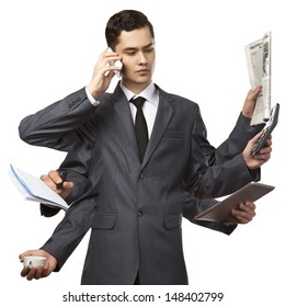 businessman with six hands in elegant suit working hold notepad clipboard, cell phone, paper, document, contract, folder business plan. Isolated over white background. Concept of busy