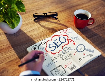 Businessman Sketching About SEO Concept