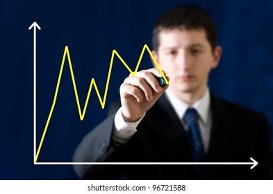 Businessman sketching diagram of changes of market