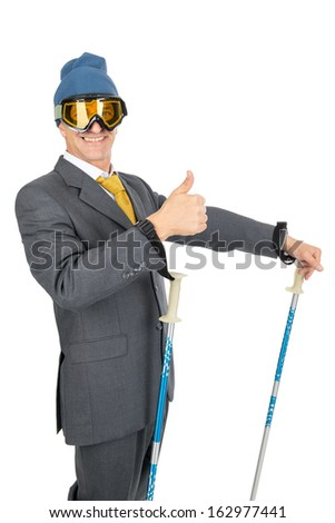 Businessman Ski Gear Isolated White Stock Photo (Edit Now) 162977441 ... 49f4405cc