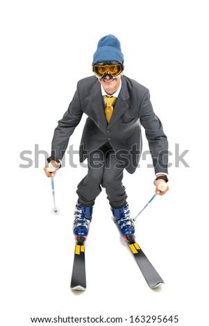 Businessman Ski Gear Isolated White Stock Photo (Edit Now) 163295645 ... 37559e900