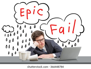 businessman sleeping at working place with his head on hand, open laptop in front of him, several glasses of coffee to the left, words 'epic fail' over his head. Concept of failure.