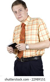 Businessman with small name card holder. Wearing elegant shirt, tie, friendly looks.