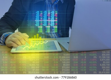 businessman with smartphone. Double exposure businessman and stock market positive graph suitable for business financial investment concept. Trends for business idea and design digital Advertising.