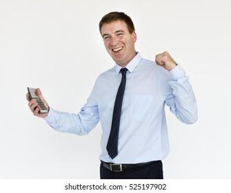 Businessman Smiling Happiness Calculator Success Portrait Concept