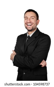 Businessman smiling isolated on white