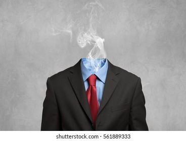 Businessman with smoking coming out from his shirt, no head
