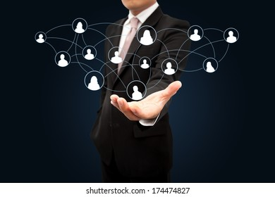 Businessman with a social network.