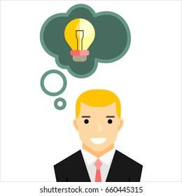 Businessman with spark Idea.  illustration