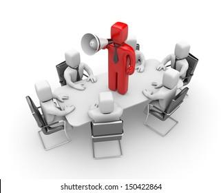 Businessman speaks in megaphone. Leadership