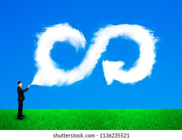 Businessman spraying out clouds in arrow infinity recycling symbol shape in blue sky and green grass background. ECO and circular economy concept.
