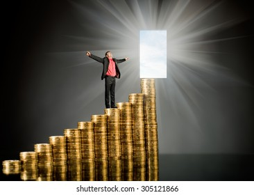 businessman stand on top of  many rouleau gold  monetary  coin, on dark background