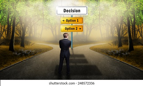 businessman standing at a crossroad having to 2 options where to go