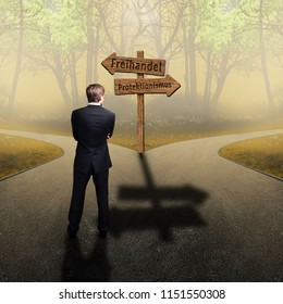 """businessman standing at a crossroad having to decide between """"free trade"""" and """"protectionism"""" (with road signs in German)"""