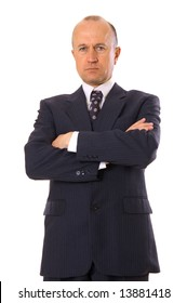 businessman standing and folding one's arms. isolated on white