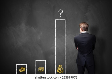 businessman standing in front of a blackboard with a chart about different types of wages