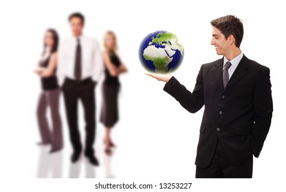 Businessman standing front of his team with confidence
