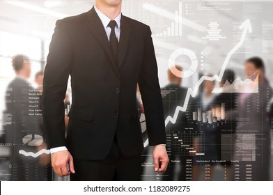 Businessman standing with glow business background