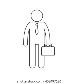 Businessman standing with his briefcase icon in outline style isolated on white background
