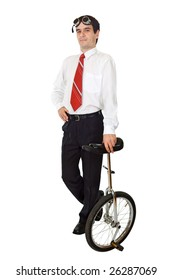Businessman standing with a mono cycle - isolated