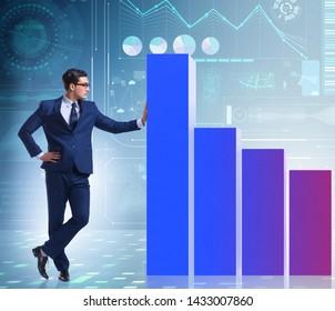 Businessman standing next to bar chart in business concept - Shutterstock ID 1433007860
