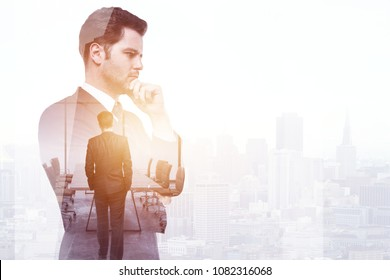 Businessman standing on abstract city office background with copy space. Employment and success concept. Double exposure