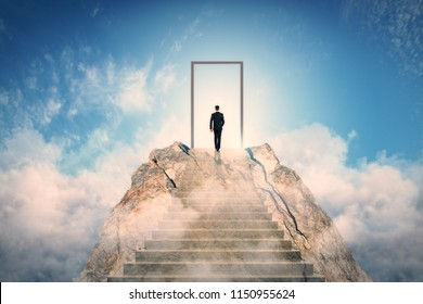 Businessman standing on abstract mountain with door on sky background. Promotion and career concept